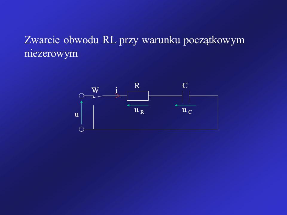 Zwarcie obwodu RL przy warunku początkowym niezerowym u i u R R u C C W
