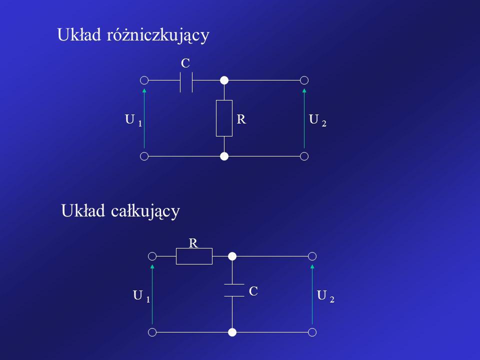 Układ różniczkujący R C U 1 U 2 R C U 1 U 2 Układ całkujący