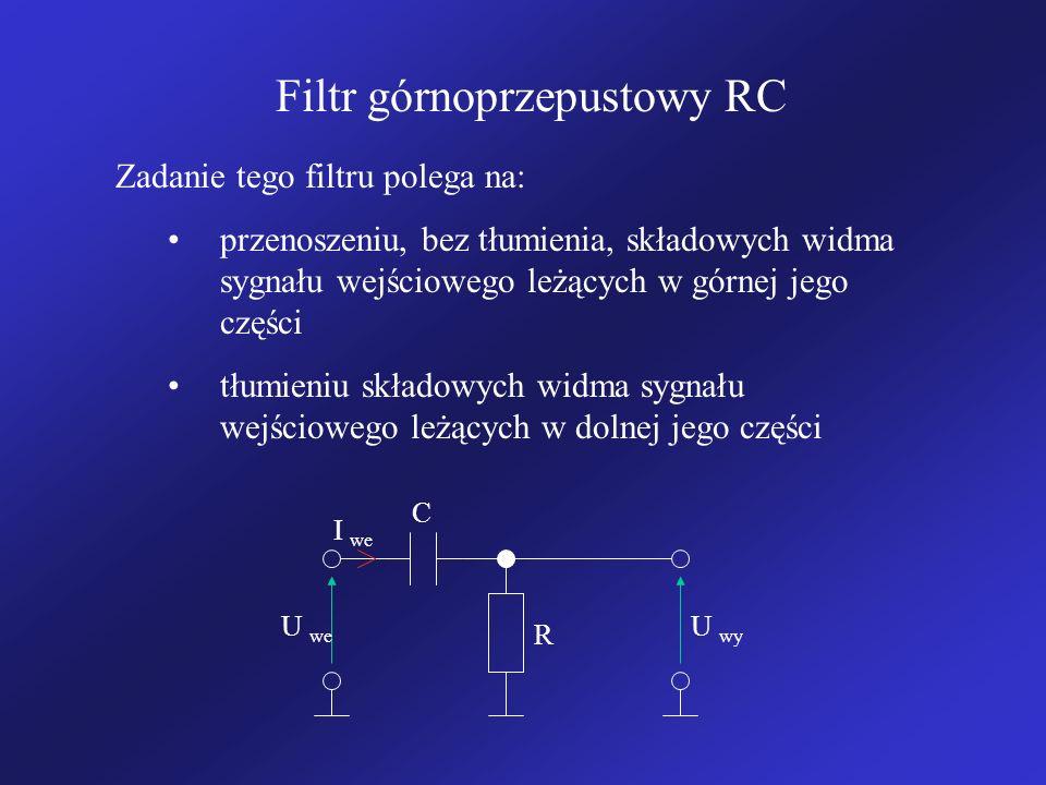 Filtr górnoprzepustowy RC Zadanie tego filtru polega na: przenoszeniu, bez tłumienia, składowych widma sygnału wejściowego leżących w górnej jego części tłumieniu składowych widma sygnału wejściowego leżących w dolnej jego części R C U we U wy I we