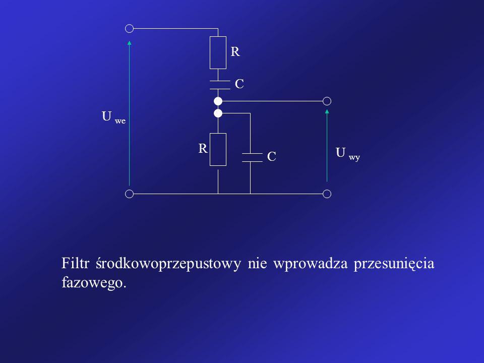 U we U wy R R C C Filtr środkowoprzepustowy nie wprowadza przesunięcia fazowego.