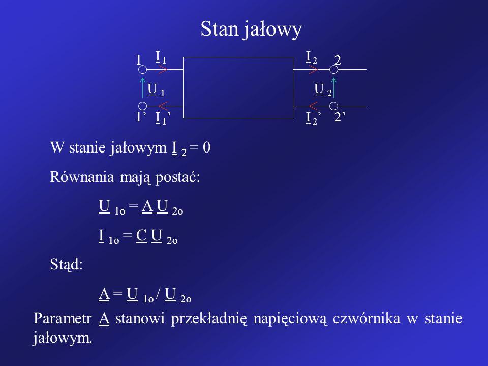 Stan jałowy I 1I 1 I 2 I 1 I 2 12 12 U 1U 1 U 2U 2 W stanie jałowym I 2 = 0 Równania mają postać: U 1o = A U 2o I 1o = C U 2o Stąd: A = U 1o / U 2o Parametr A stanowi przekładnię napięciową czwórnika w stanie jałowym.