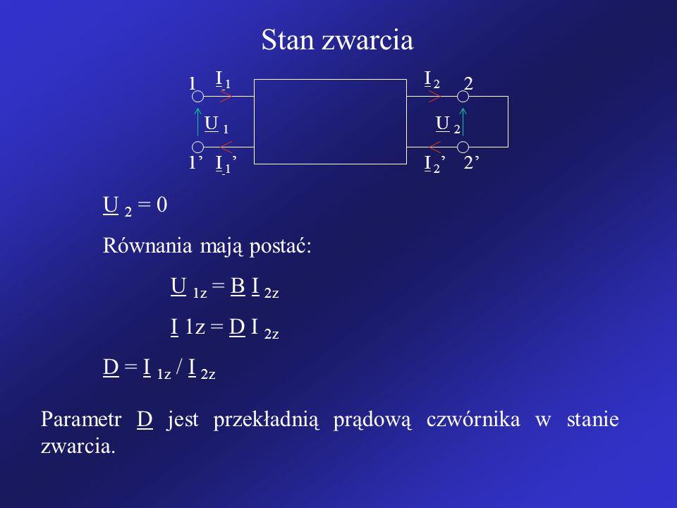 Stan zwarcia I 1I 1 I 2 I 1 I 2 12 12 U 1U 1 U 2U 2 U 2 = 0 Równania mają postać: U 1z = B I 2z I 1z = D I 2z D = I 1z / I 2z Parametr D jest przekładnią prądową czwórnika w stanie zwarcia.
