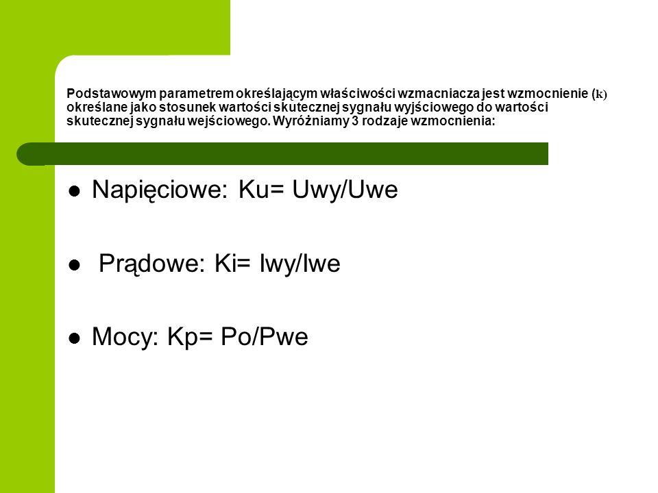 Rodzaje sprzężenia zwrotnego: K B K B K B K B a)b) c) d) Napięciowo-szeregowe Napięciowo-równoleg Prądowo-szeregowe Prądowo-równoległe K= Uwy/Up Bf= Uf/Iwy K= Iwy/Up Bf= Uf/Uwy K= Uwy/Ip Bf= Uf/Iwy K= Iwy/Ip Bf= If/Iwy