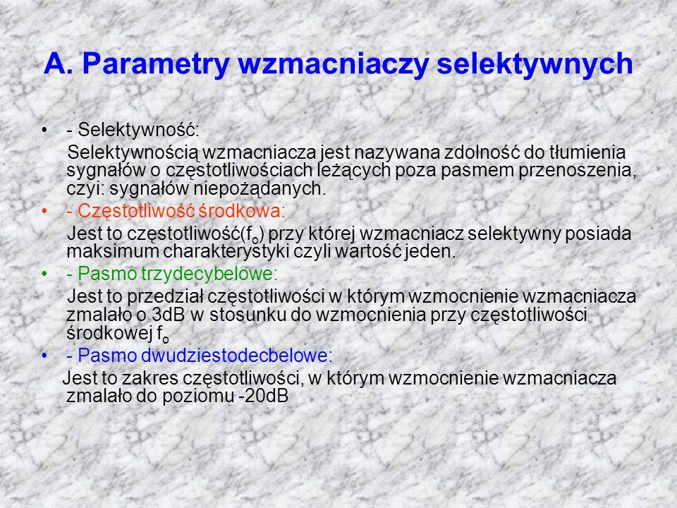 A. Parametry wzmacniaczy selektywnych - Selektywność: Selektywnością wzmacniacza jest nazywana zdolność do tłumienia sygnałów o częstotliwościach leżą