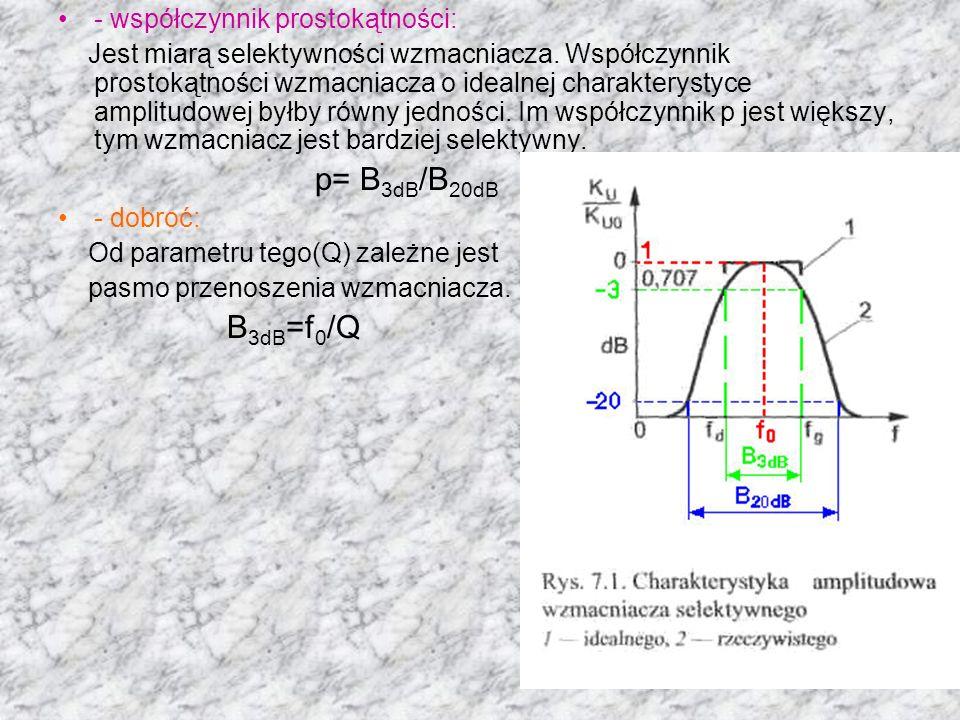 - współczynnik prostokątności: Jest miarą selektywności wzmacniacza. Współczynnik prostokątności wzmacniacza o idealnej charakterystyce amplitudowej b