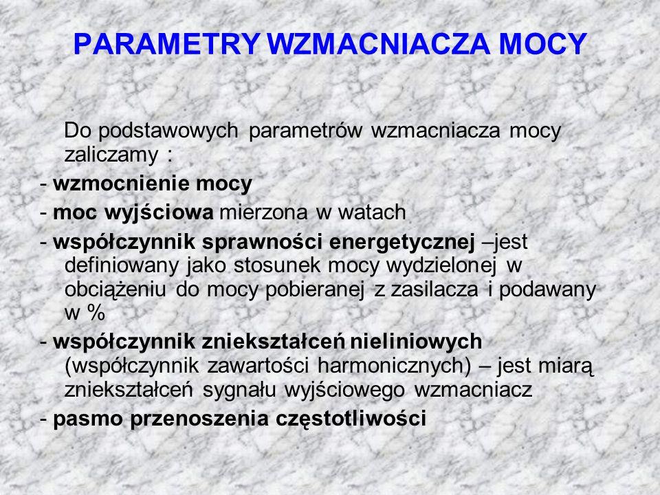 PARAMETRY WZMACNIACZA MOCY Do podstawowych parametrów wzmacniacza mocy zaliczamy : - wzmocnienie mocy - moc wyjściowa mierzona w watach - współczynnik