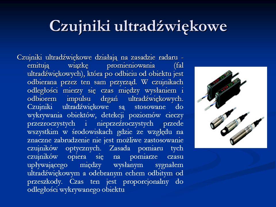 Czujniki ultradźwiękowe Czujniki ultradźwiękowe działają na zasadzie radaru - emitują wiązkę promieniowania (fal ultradźwiękowych), która po odbiciu o
