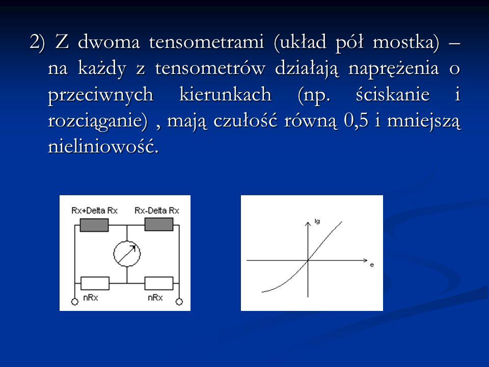 2) Z dwoma tensometrami (układ pół mostka) – na każdy z tensometrów działają naprężenia o przeciwnych kierunkach (np. ściskanie i rozciąganie), mają c