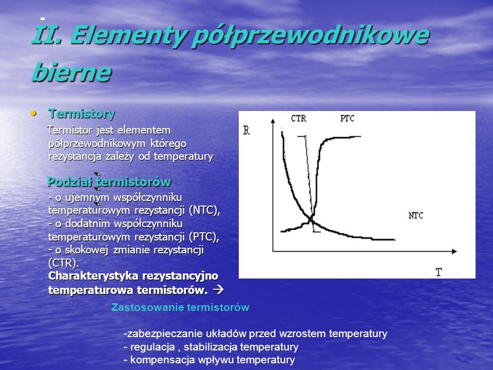 II. Elementy półprzewodnikowe bierne Termistory Termistory Termistor jest elementem półprzewodnikowym którego rezystancja zależy od temperatury Termis