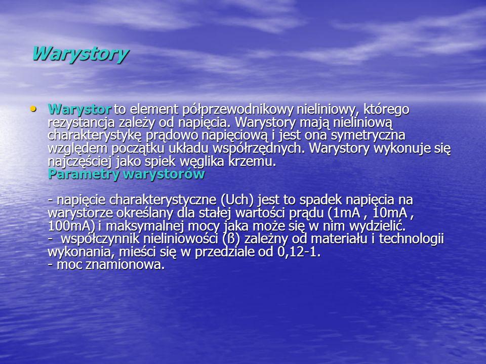 Warystory Warystor to element półprzewodnikowy nieliniowy, którego rezystancja zależy od napięcia. Warystory mają nieliniową charakterystykę prądowo n