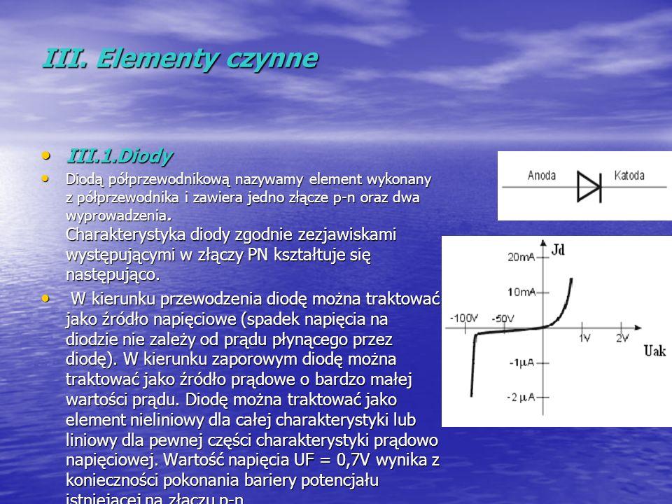 III. Elementy czynne III.1.Diody III.1.Diody Diodą półprzewodnikową nazywamy element wykonany z półprzewodnika i zawiera jedno złącze p-n oraz dwa wyp