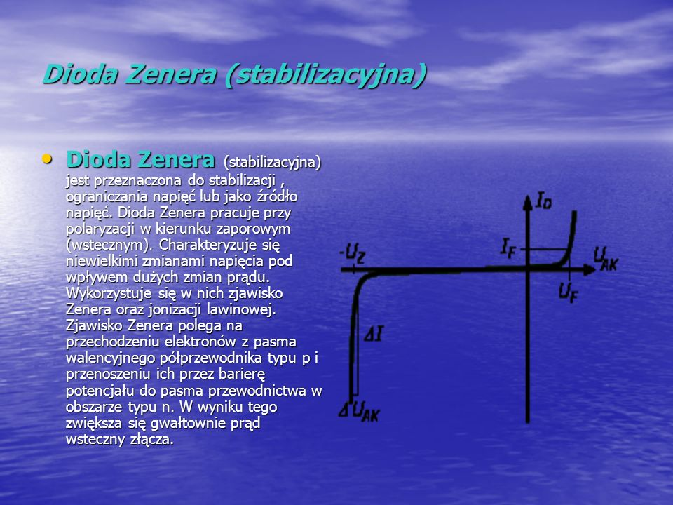 Dioda Zenera (stabilizacyjna) Dioda Zenera (stabilizacyjna) jest przeznaczona do stabilizacji, ograniczania napięć lub jako źródło napięć. Dioda Zener