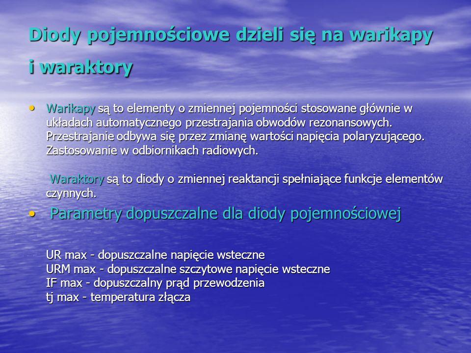 Diody pojemnościowe dzieli się na warikapy i waraktory Warikapy są to elementy o zmiennej pojemności stosowane głównie w układach automatycznego przes