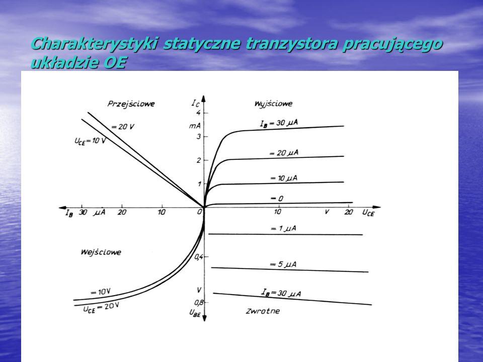 Charakterystyki statyczne tranzystora pracującego układzie OE