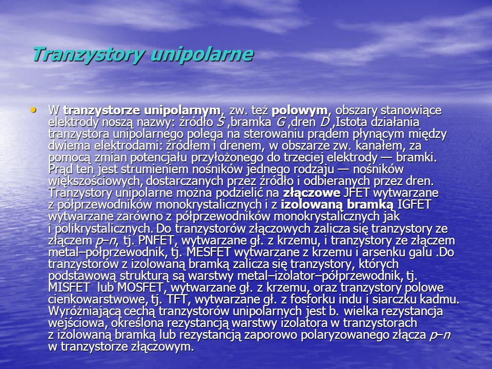 Tranzystory unipolarne W tranzystorze unipolarnym, zw. też polowym, obszary stanowiące elektrody noszą nazwy: źródło S,bramka G,dren D,Istota działani