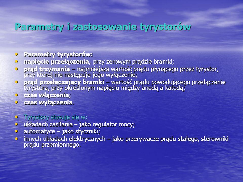 Parametry i zastosowanie tyrystorów Parametry tyrystorów: Parametry tyrystorów: napięcie przełączenia, przy zerowym prądzie bramki; napięcie przełącze