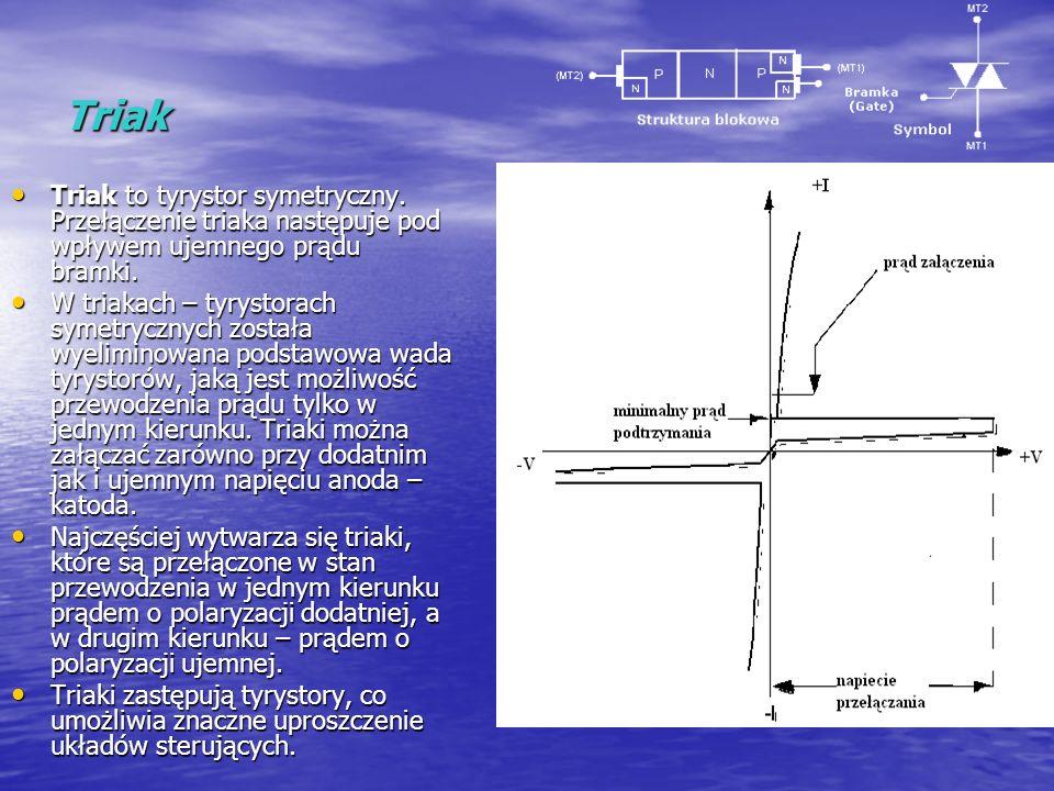 Triak Triak to tyrystor symetryczny. Przełączenie triaka następuje pod wpływem ujemnego prądu bramki. Triak to tyrystor symetryczny. Przełączenie tria
