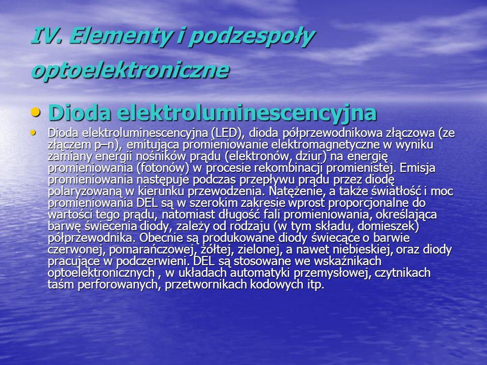 IV. Elementy i podzespoły optoelektroniczne Dioda elektroluminescencyjna Dioda elektroluminescencyjna Dioda elektroluminescencyjna (LED), dioda półprz