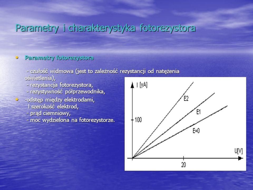 Parametry i charakterystyka fotorezystora Parametry fotorezystora - czułość widmowa (jest to zależność rezystancji od natężenia oświetlenia), - rezyst