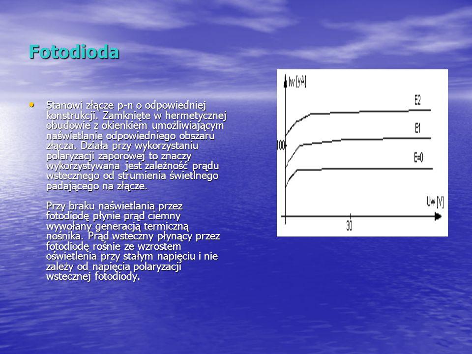 Fotodioda Stanowi złącze p-n o odpowiedniej konstrukcji. Zamknięte w hermetycznej obudowie z okienkiem umożliwiającym naświetlanie odpowiedniego obsza