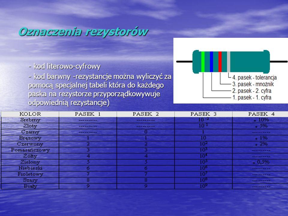 Oznaczenia rezystorów - kod literowo-cyfrowy - kod literowo-cyfrowy - kod barwny -rezystancje można wyliczyć za pomocą specjalnej tabeli która do każd