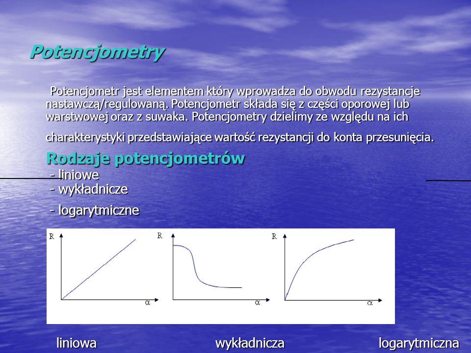 Potencjometry Potencjometr jest elementem który wprowadza do obwodu rezystancje nastawczą/regulowaną. Potencjometr składa się z części oporowej lub wa