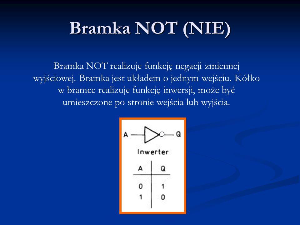 Bramka NAND (NIE I) Bramka NAND realizuje funkcję negacji iloczynu zmiennych wejściowych.