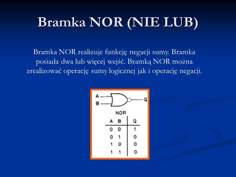 Bramka Ex-OR (XOR, ALBO) _ _ Bramka Ex-OR realizuje funkcję f(A, B) = AB + AB = A B Bramka ta umożliwia bardzo oszczędną realizacje układu.