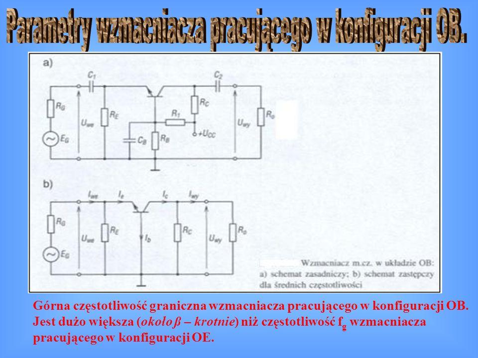 Górna częstotliwość graniczna wzmacniacza pracującego w konfiguracji OB. Jest dużo większa (około ß – krotnie) niż częstotliwość f g wzmacniacza pracu