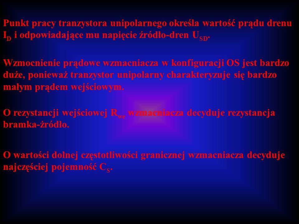 Punkt pracy tranzystora unipolarnego określa wartość prądu drenu I D i odpowiadające mu napięcie źródło-dren U SD. Wzmocnienie prądowe wzmacniacza w k