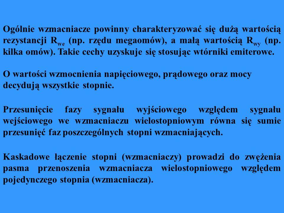 Ogólnie wzmacniacze powinny charakteryzować się dużą wartością rezystancji R we (np. rzędu megaomów), a małą wartością R wy (np. kilka omów). Takie ce