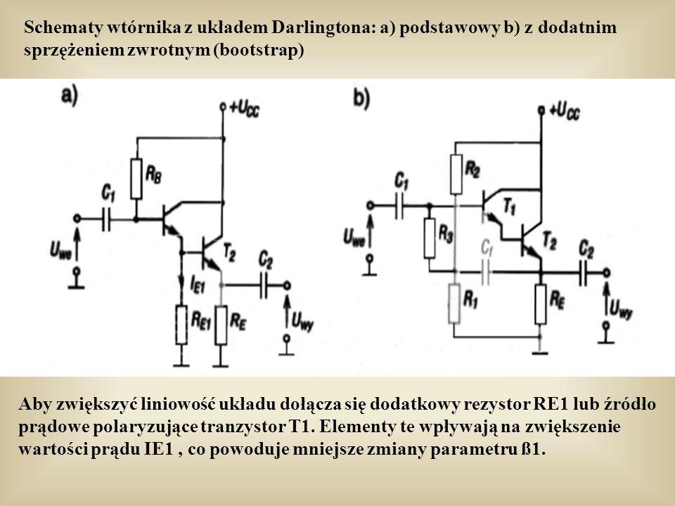 Schematy wtórnika z układem Darlingtona: a) podstawowy b) z dodatnim sprzężeniem zwrotnym (bootstrap) Aby zwiększyć liniowość układu dołącza się dodatkowy rezystor RE1 lub źródło prądowe polaryzujące tranzystor T1.