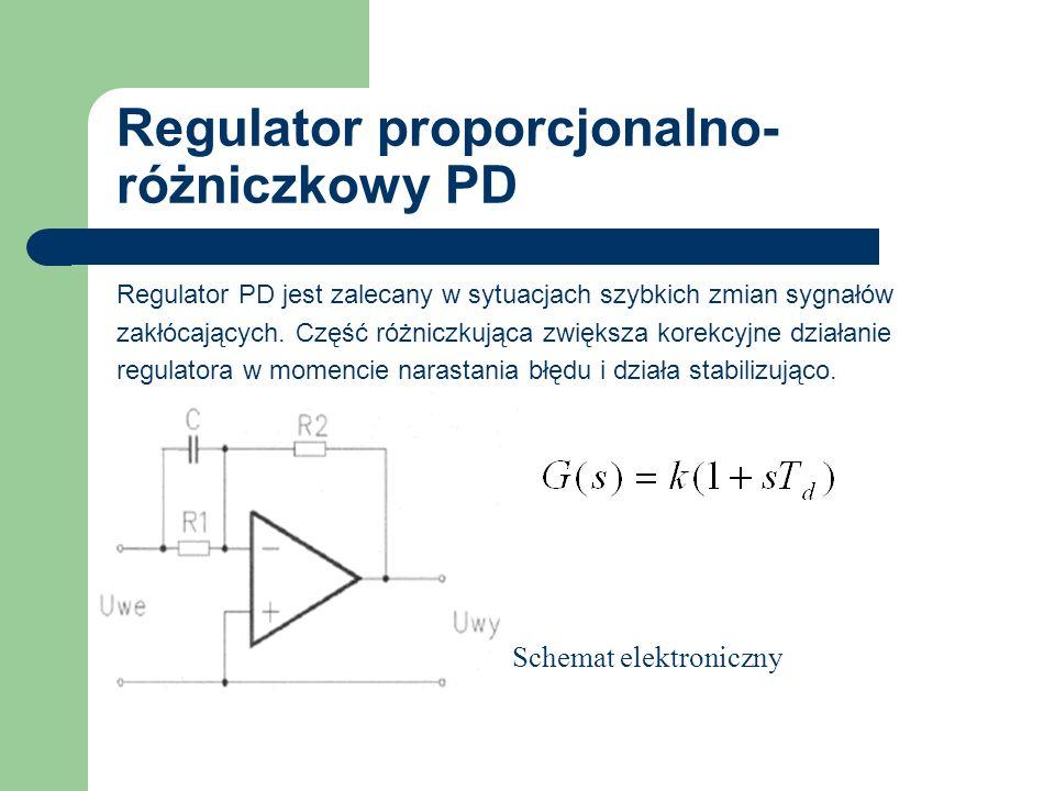 Regulator proporcjonalno- różniczkowy PD Regulator PD jest zalecany w sytuacjach szybkich zmian sygnałów zakłócających. Część różniczkująca zwiększa k