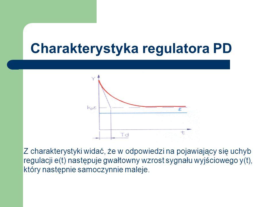Charakterystyka regulatora PD Z charakterystyki widać, że w odpowiedzi na pojawiający się uchyb regulacji e(t) następuje gwałtowny wzrost sygnału wyjś