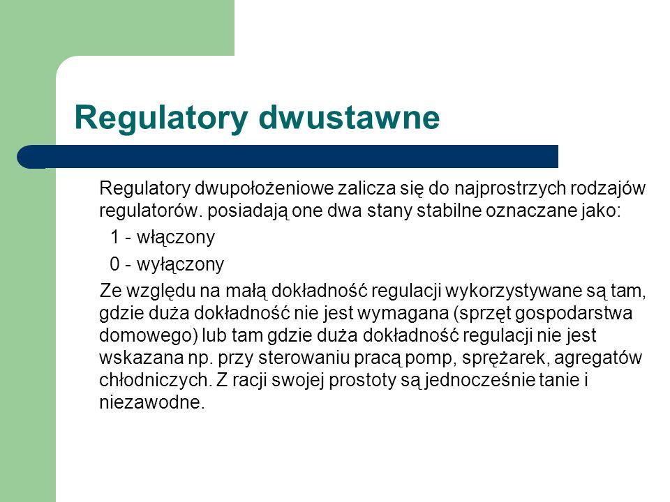 Regulatory dwustawne Regulatory dwupołożeniowe zalicza się do najprostrzych rodzajów regulatorów. posiadają one dwa stany stabilne oznaczane jako: 1 -
