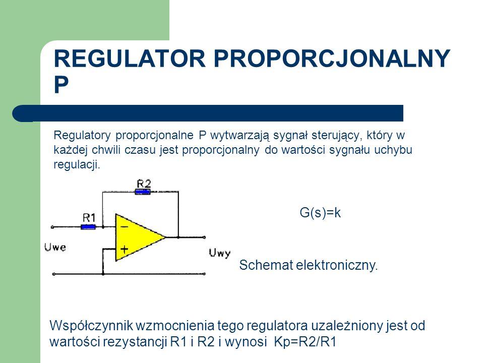 REGULATOR PROPORCJONALNY P Regulatory proporcjonalne P wytwarzają sygnał sterujący, który w każdej chwili czasu jest proporcjonalny do wartości sygnał