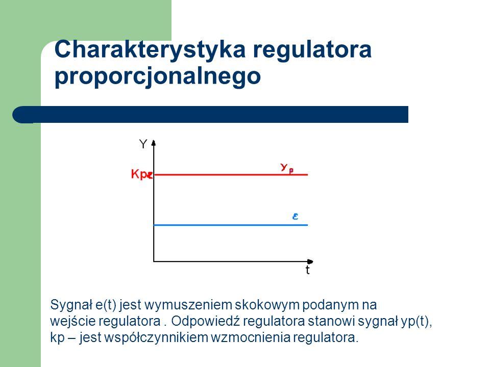 Charakterystyka regulatora proporcjonalnego Sygnał e(t) jest wymuszeniem skokowym podanym na wejście regulatora. Odpowiedź regulatora stanowi sygnał y