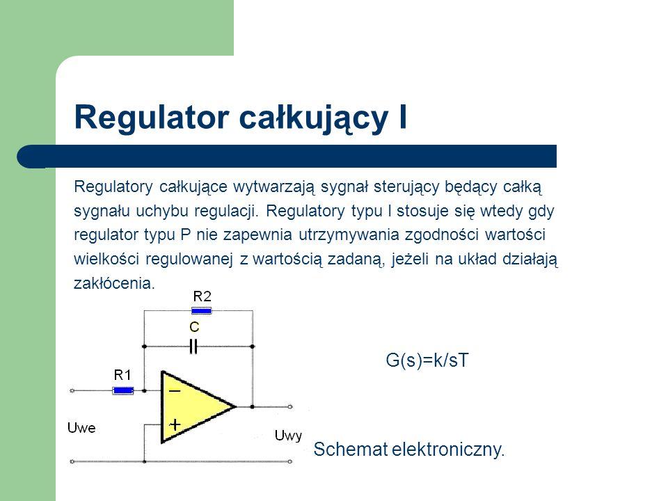 Regulator całkujący I Regulatory całkujące wytwarzają sygnał sterujący będący całką sygnału uchybu regulacji. Regulatory typu I stosuje się wtedy gdy