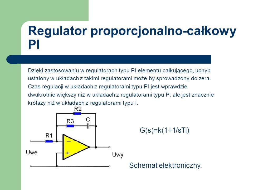 Regulator proporcjonalno-całkowy PI Dzięki zastosowaniu w regulatorach typu PI elementu całkującego, uchyb ustalony w układach z takimi regulatorami m
