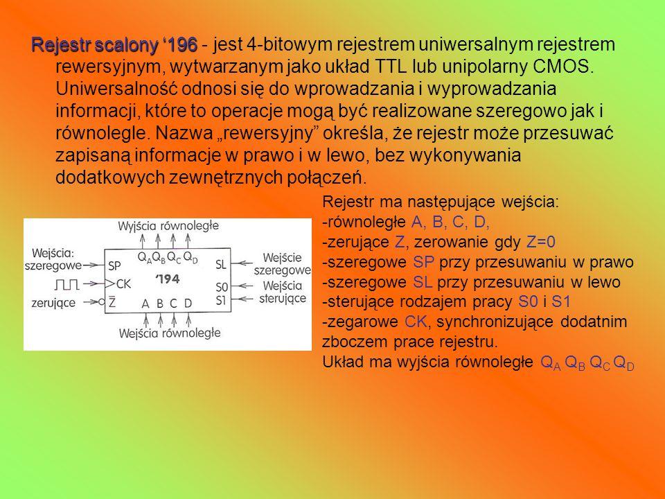 Rejestr scalony 196 Rejestr scalony 196 - jest 4-bitowym rejestrem uniwersalnym rejestrem rewersyjnym, wytwarzanym jako układ TTL lub unipolarny CMOS.