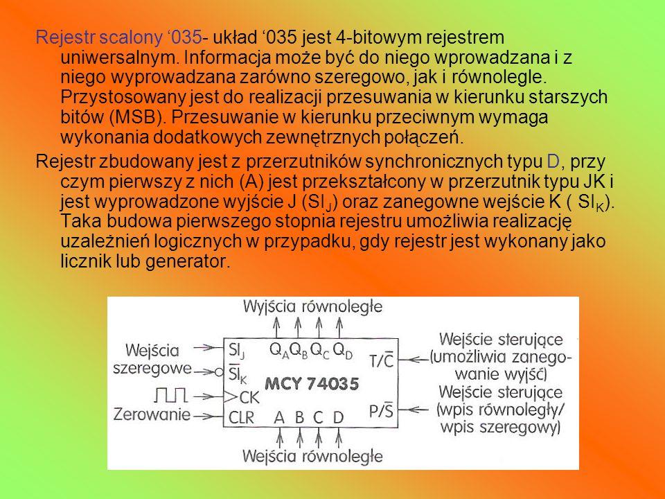 Rejestr scalony 035- układ 035 jest 4-bitowym rejestrem uniwersalnym. Informacja może być do niego wprowadzana i z niego wyprowadzana zarówno szeregow