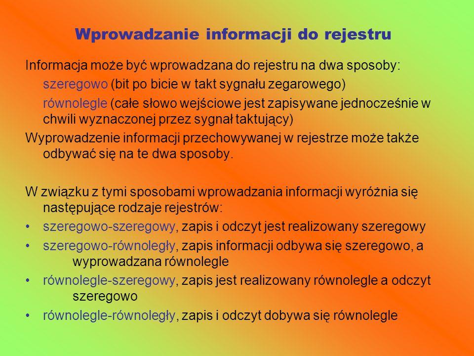 Wprowadzanie informacji do rejestru Informacja może być wprowadzana do rejestru na dwa sposoby: szeregowo (bit po bicie w takt sygnału zegarowego) rów