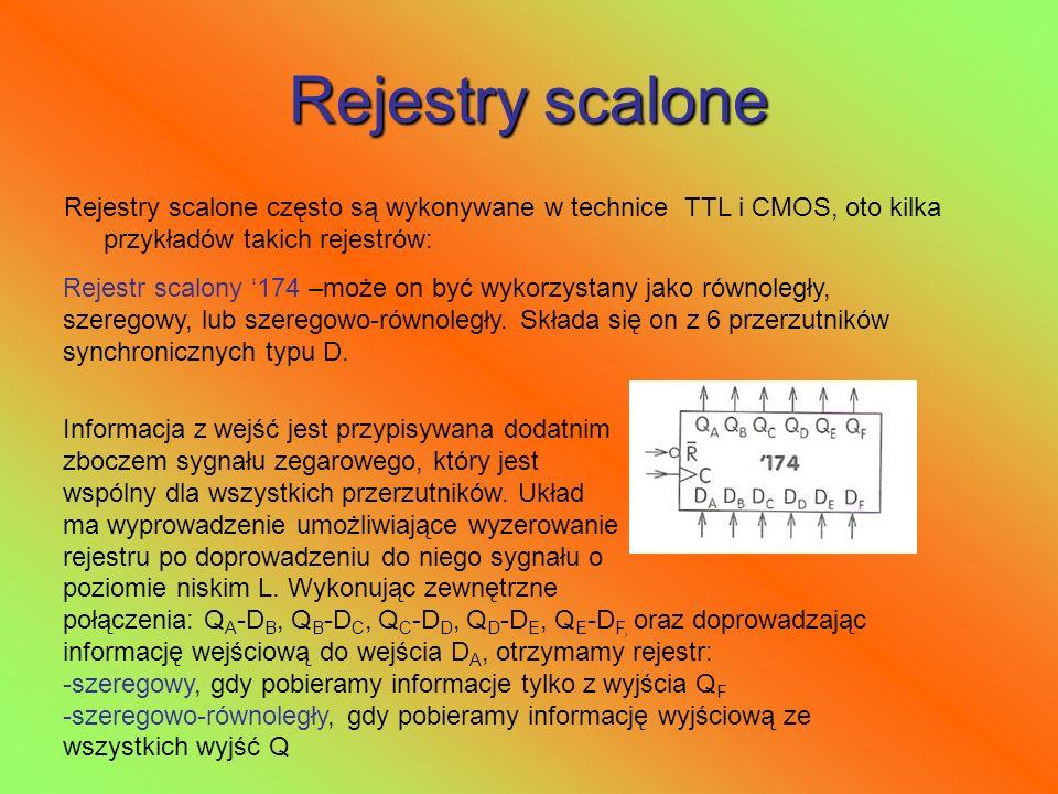 Rejestry scalone Rejestry scalone często są wykonywane w technice TTL i CMOS, oto kilka przykładów takich rejestrów: Rejestr scalony 174 –może on być
