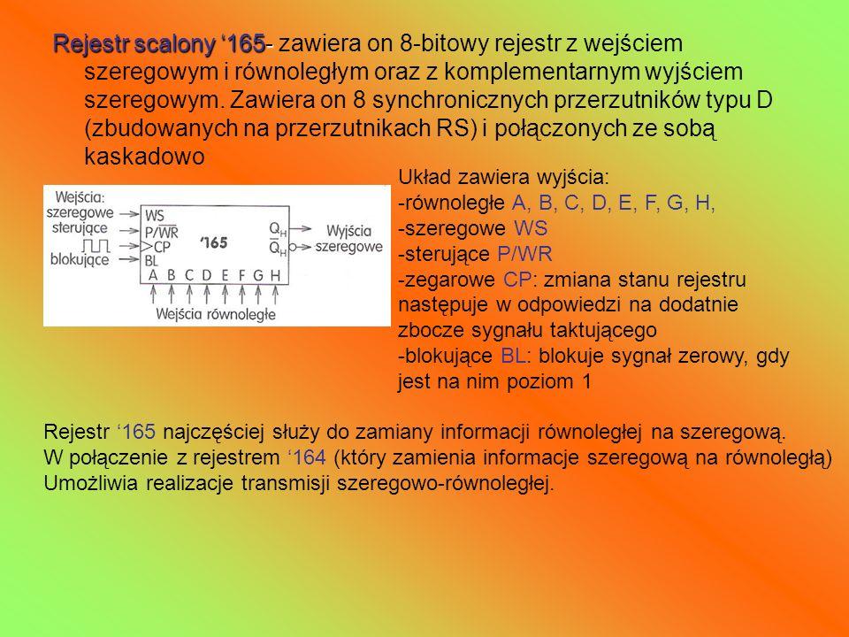 Rejestr scalony 165- Rejestr scalony 165- zawiera on 8-bitowy rejestr z wejściem szeregowym i równoległym oraz z komplementarnym wyjściem szeregowym.