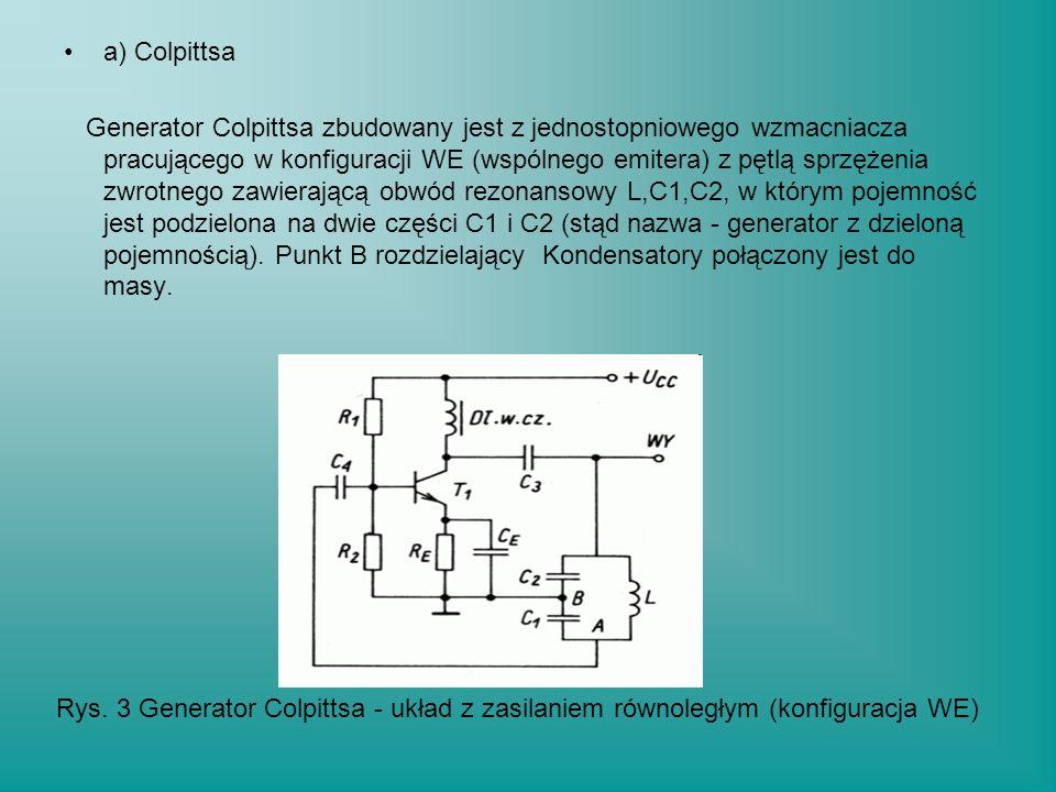 a) Colpittsa Generator Colpittsa zbudowany jest z jednostopniowego wzmacniacza pracującego w konfiguracji WE (wspólnego emitera) z pętlą sprzężenia zw