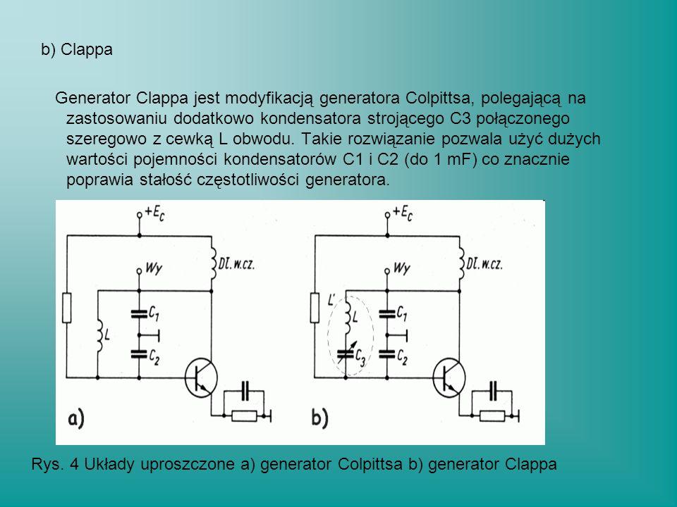 b) Clappa Generator Clappa jest modyfikacją generatora Colpittsa, polegającą na zastosowaniu dodatkowo kondensatora strojącego C3 połączonego szeregow