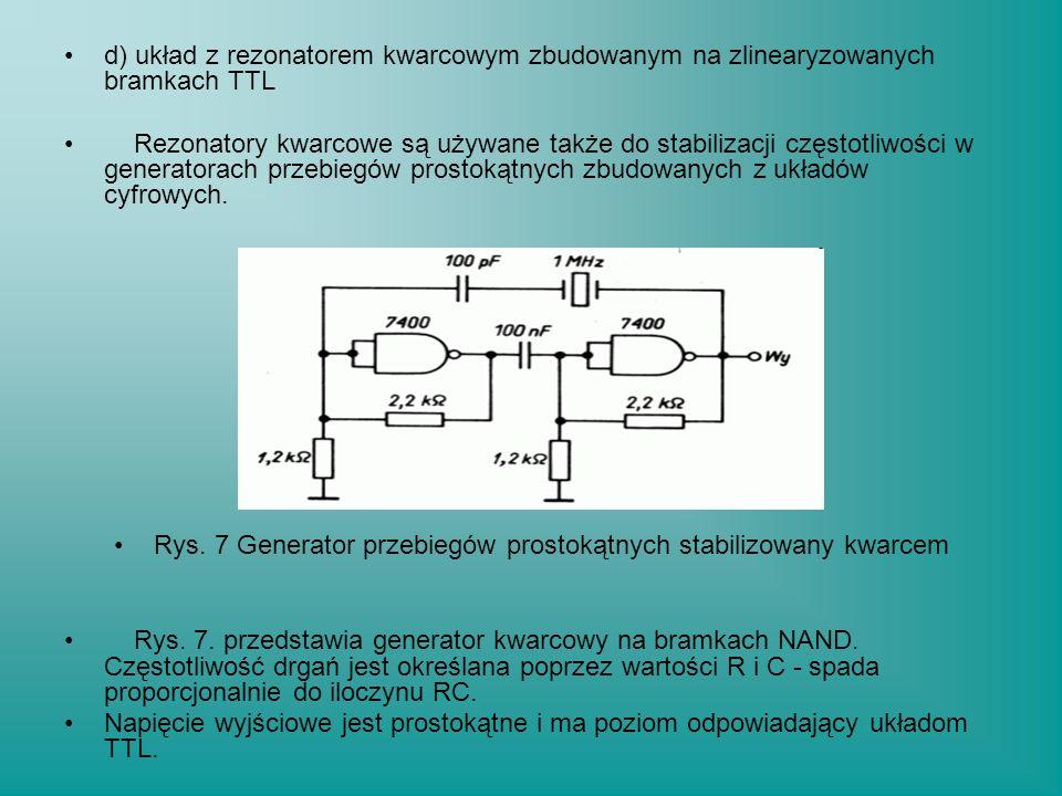 d) układ z rezonatorem kwarcowym zbudowanym na zlinearyzowanych bramkach TTL Rezonatory kwarcowe są używane także do stabilizacji częstotliwości w gen