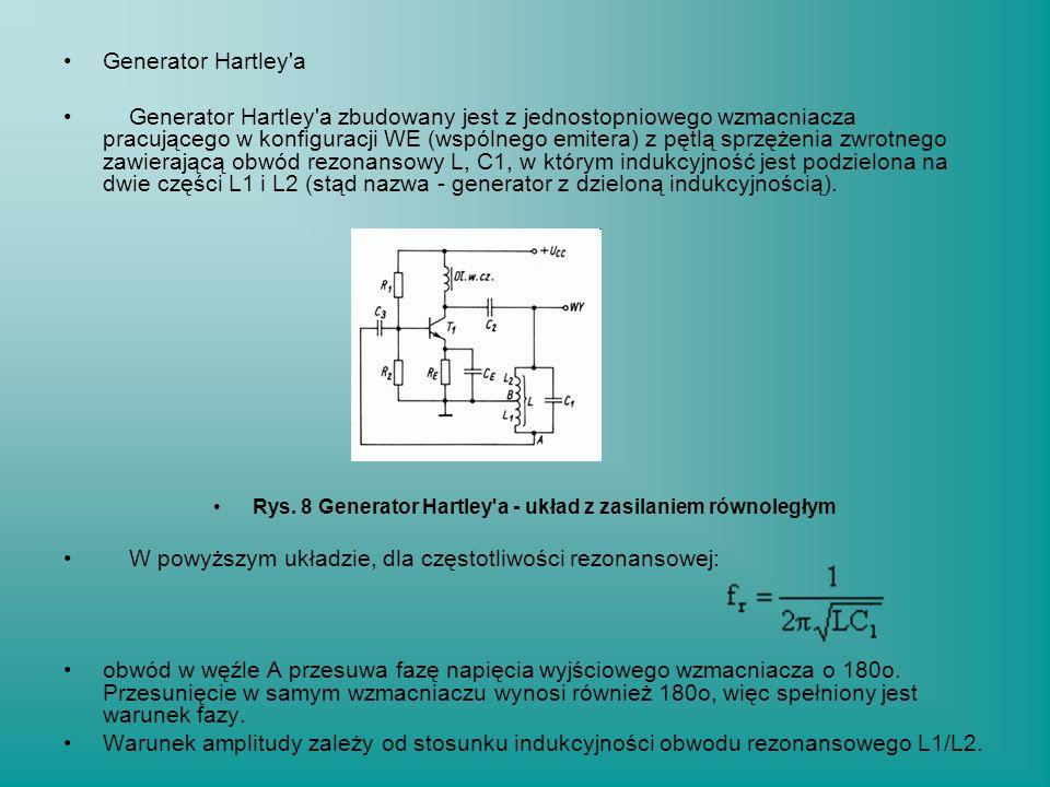 Generator Hartley'a Generator Hartley'a zbudowany jest z jednostopniowego wzmacniacza pracującego w konfiguracji WE (wspólnego emitera) z pętlą sprzęż