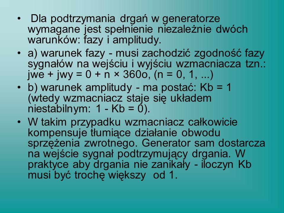 Dla podtrzymania drgań w generatorze wymagane jest spełnienie niezależnie dwóch warunków: fazy i amplitudy. a) warunek fazy - musi zachodzić zgodność