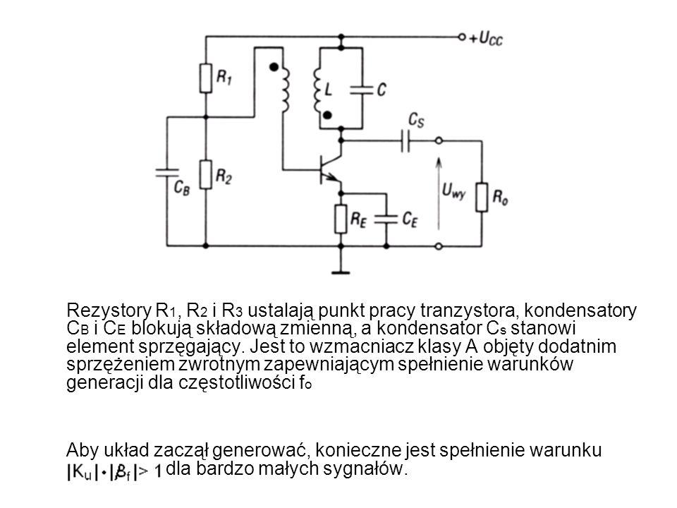 Rezystory R 1, R 2 i R 3 ustalają punkt pracy tranzystora, kondensatory C B i C E blokują składową zmienną, a kondensator C s stanowi element sprzęgaj